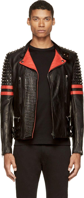 Diesel Black Gold: Black & Red Leather Studded Likol Biker Jacket