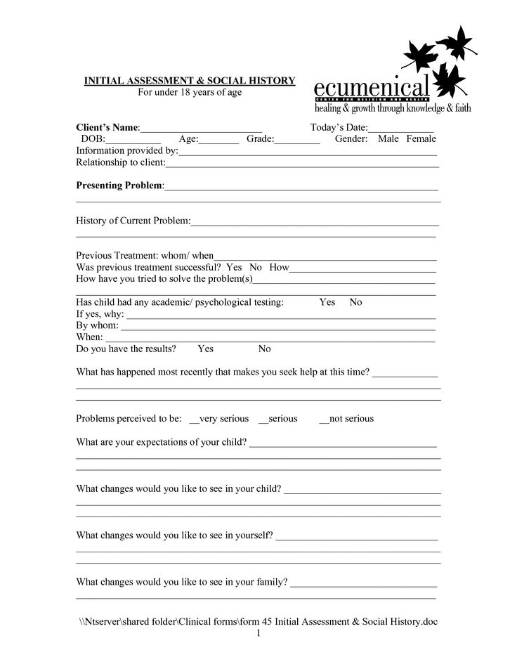 Social Work Intake Form Template Google Search Rec
