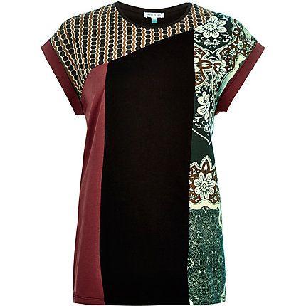 Red colour block print oversized t-shirt £20.00