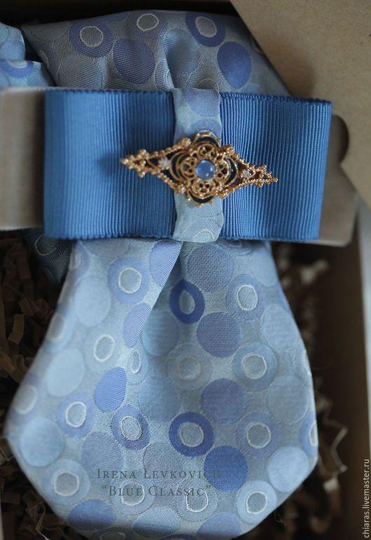 """Галстуки, бабочки ручной работы. Ярмарка Мастеров - ручная работа. Купить блистрон ручной работы, женский галстук """"Blue Classic"""". Handmade."""