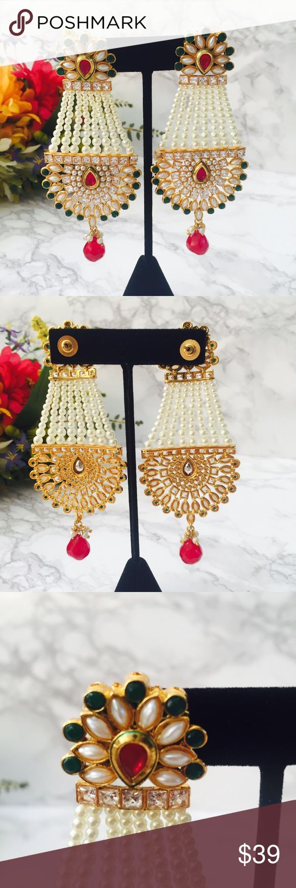 💎 Vintage Indian Earrings 💎 Beautiful long vintage earrings. Inspired by traditional Indian jewelry. Unique and elegant design perfect for any special occasion such as weddings or birthday parties.  Tags: Indian Pakistani pearls green red rhinestones gold vintage Christmas present Bollywood fancy prom formal  *unfortunately there is a missing stone on one of the earrings as shown in the first picture Jewelry Earrings