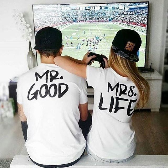 US $5.99 -- AliExpress.com Product - BKLD 2017 New Summer Funny Couple T Shirts mr good mrs life Letter Printed Cotton O Neck Tees Short Sleeve Causal Couple Clothes