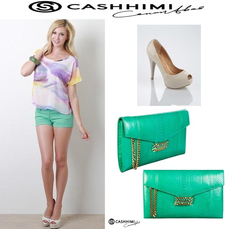 Cashhimi Green BEVERLY Python Clutch