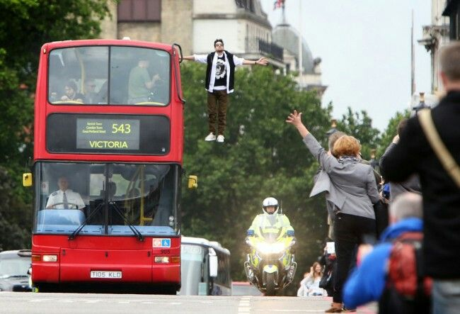Dynamo Magician Impossible floated on top of a bus. He isn't called Magician Impossible for nothing I'd say!!