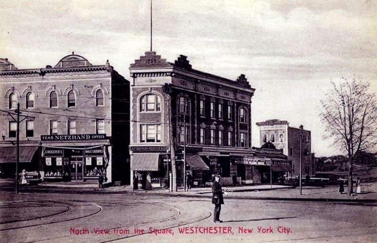 Westchester Square, The Bronx, New York City, postcard, about 1909    Today the man standing on East Tremont and Westchester Avenues would be under the El tracks.