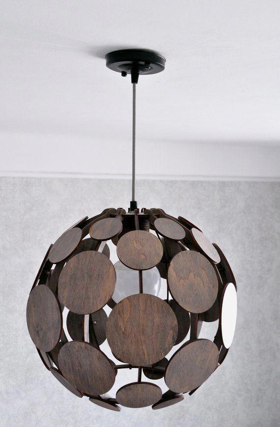 Wood Pendant Lamp Shade Living Room Hanging Lamp Modern Bedroom