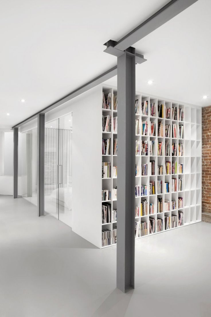 Desain Rumah minimali Modern Minimalist Interior with Exposed Brick and Wood: Accent Pillars Made Of Steel Finished In Gray To Create Stunning Combination Of Whit... by : http://www.wikirumah.com/