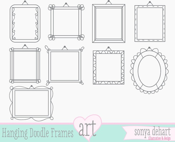 clip art frames hanging doodle digital clipart frames royalty free commercial use labels 300