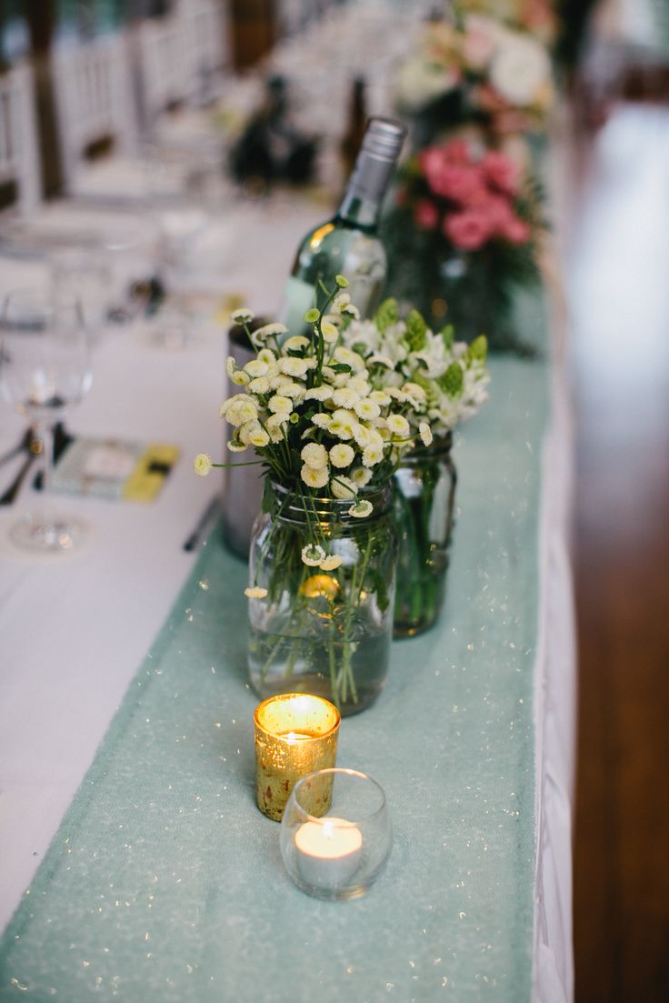 Mint green sequined table runner