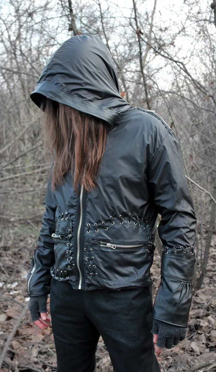 --> STRICTLY LIMITED TO A SINGLE PIECE!!! <-- Jacket made of waterproof fabric and genuine leather. Decorative lacing and zips. Huge hood. 2...