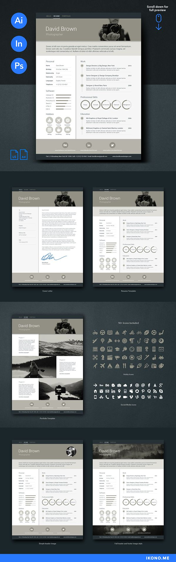 Retro Resume Template Design 134 best Creative