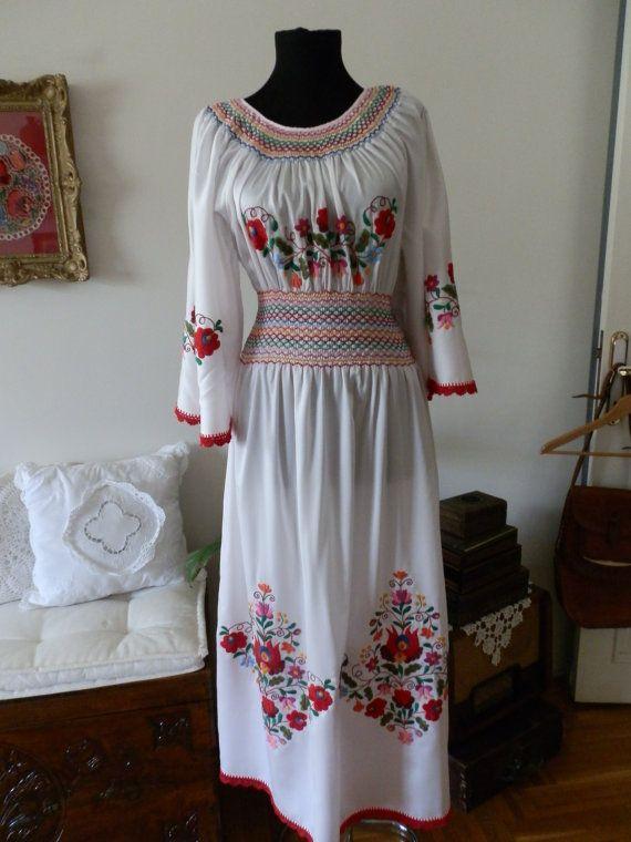 Hungarian Kalocsai  handmade embroidered dress. by macaristanbul, $700.00
