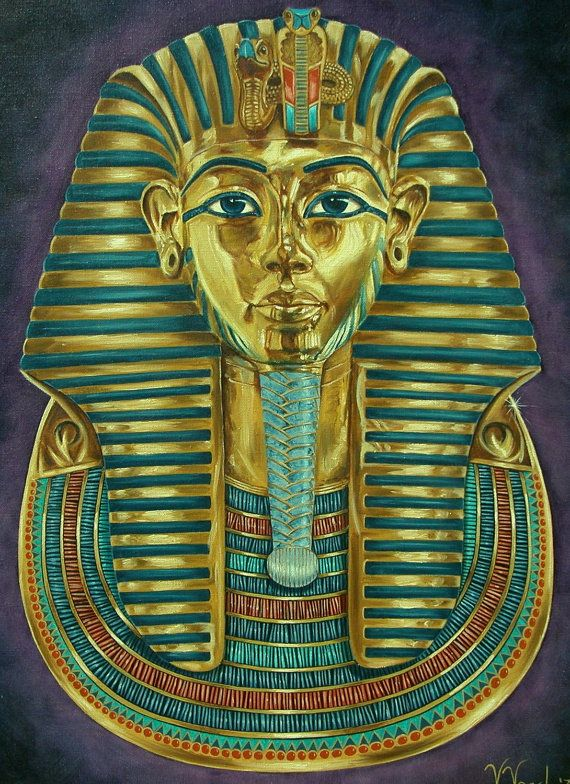 King Tut Gold Mask 18x24 original oil painting on by ...