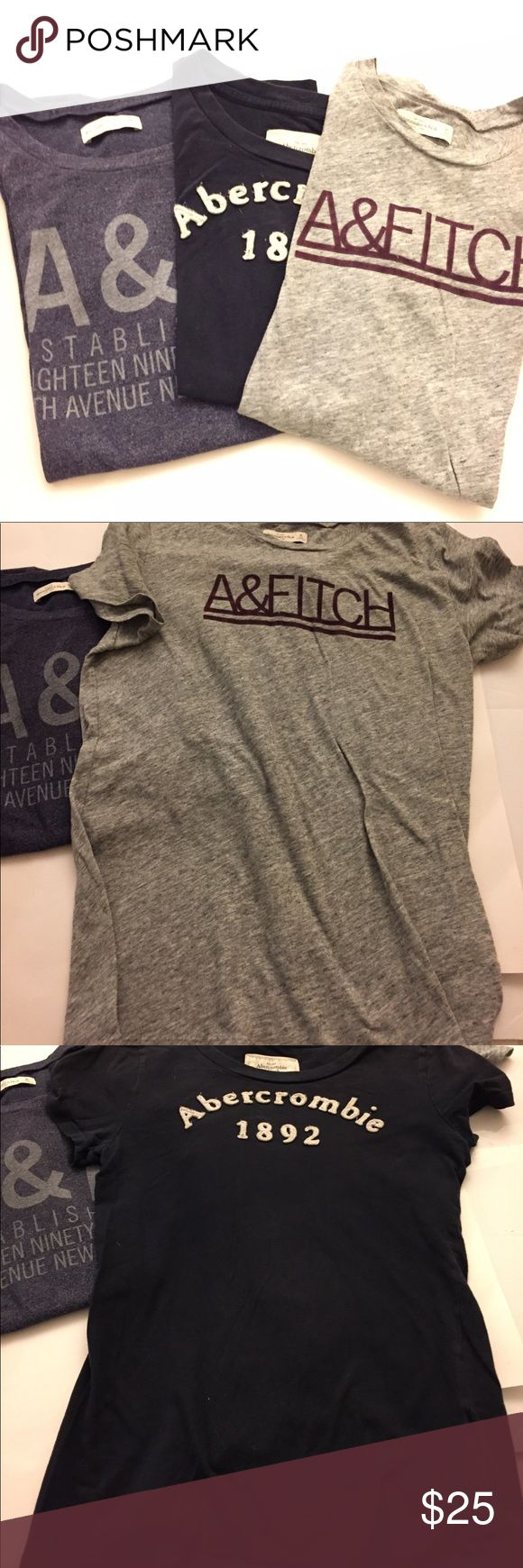 Abercrombie and Fitch TShirts Lot Lot of 3 Logo TShirts all size Medium. Condition of shirts are in used condition, the middle TShirt looks more like a small, the other two fit like a large. I am not the original owner, but I am a medium and it is my best guess in regards to the fit. Abercrombie & Fitch Tops Tees - Short Sleeve