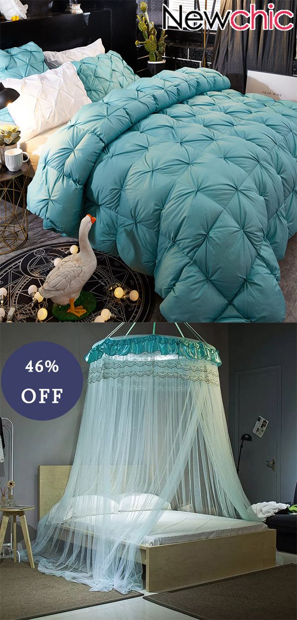 $39.6, White Goose Down Quilt, Bed Canopy Hung Dome Princess Lace Round Tent Netting Curtains – home