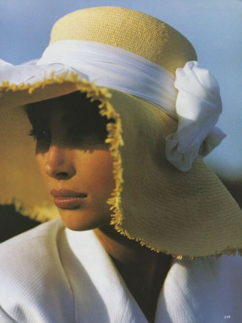 Christy Turlington, photographed by Hans Feurer for Vogue's May 1990 issue.: Fashion, Hans Feurer, Christy Turlington, Christyturlington, Vogue 1990, Hats Lov, Vogue Magazines, Floppy Hats, Beach Hats