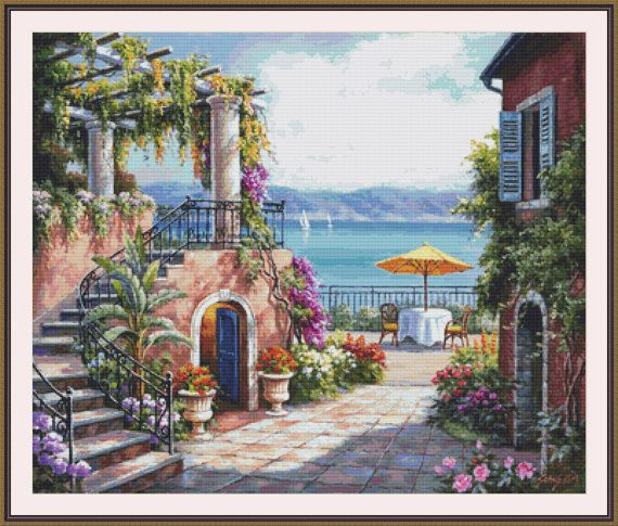 Tuscan Terrace Counted cross stitch pattern in by Maxispatterns