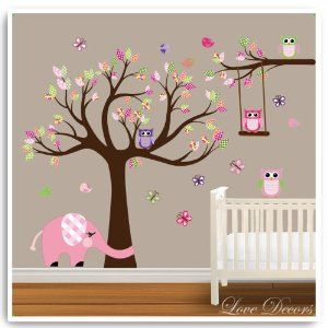 animal elephant owl tree wall sticker by love decors decal mural deco decor nursery bedroom art. Black Bedroom Furniture Sets. Home Design Ideas