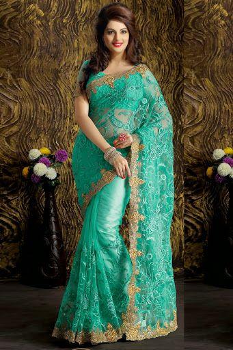 #Sky Blue #Net Saree With Blouse