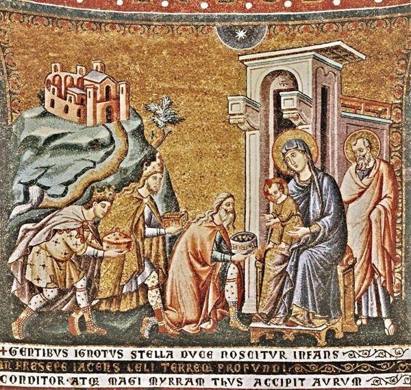 Pietro Cavallini (1250 – 1330), o Romano Adoração dos Magos mosaico na cabeceira da Basílica de Santa Maria in Trastevere.