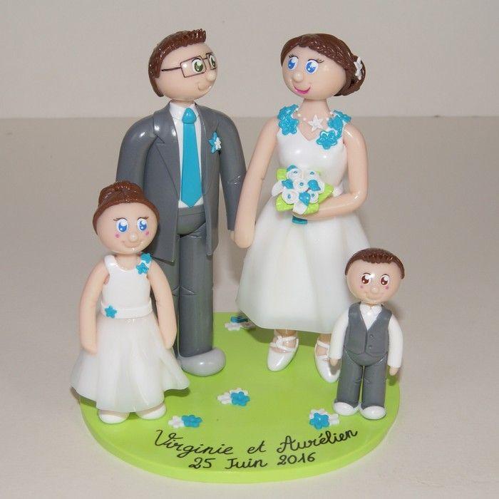Wedding cake topper / figurines de mariage personnalisées / famille / enfant / mariage champêtre