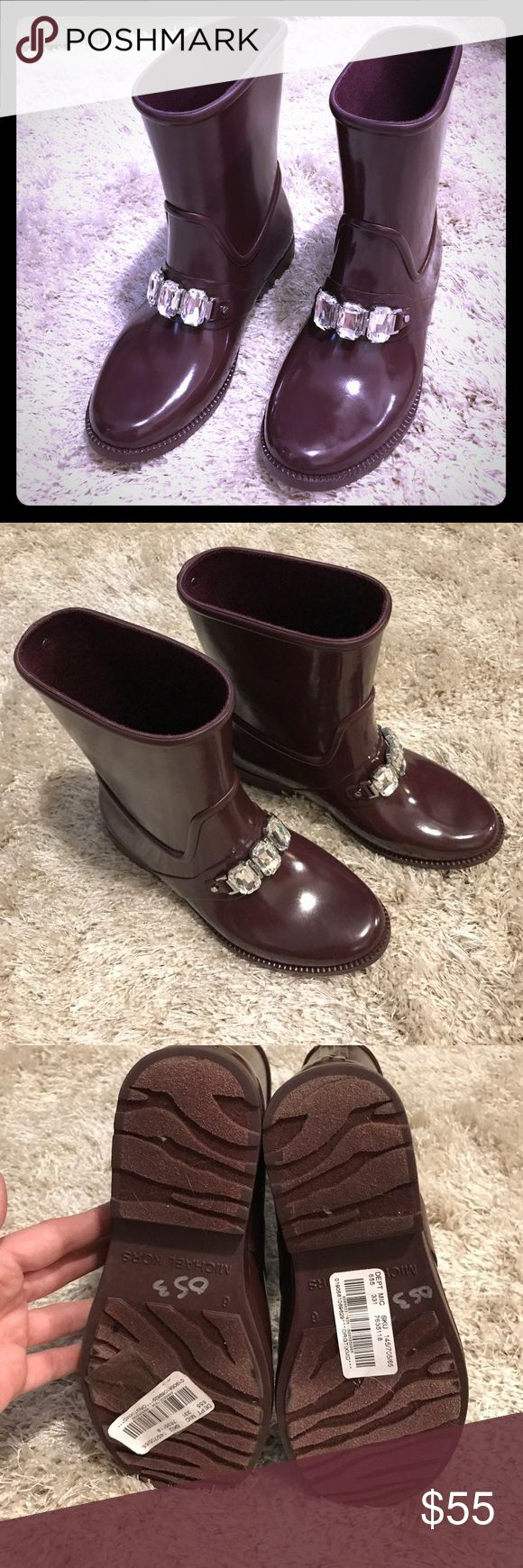 Michael Kors Leslie Embellished Rain Boots ☔️ Brand new! Never worn! Leslie rain boots!  Perfect for a rainy day! AUTHENTIC Michael Kors! Reasonable offers accepted! MICHAEL Michael Kors Shoes Winter & Rain Boots
