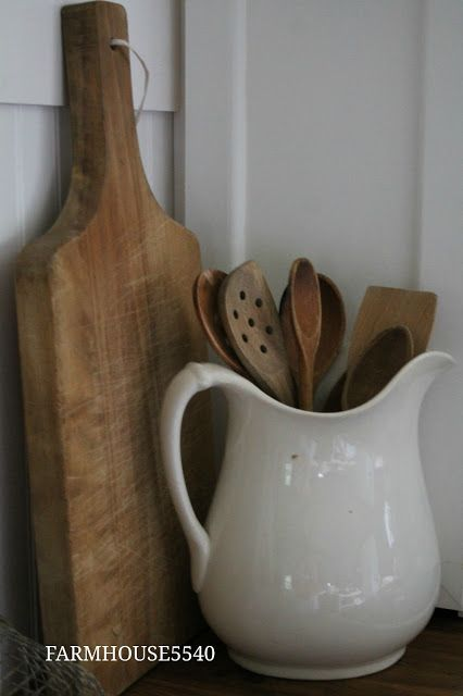FARMHOUSE 5540- classic farmhouse kitchen staples- ironstone pitcher, butcher block chopping board!