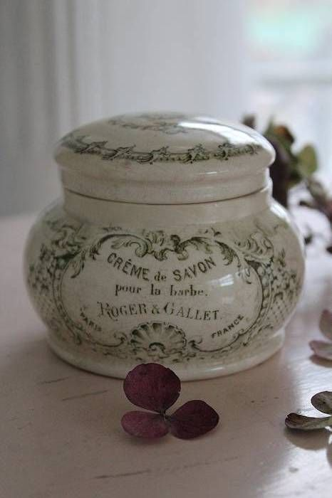 "Ceramic jar ""Cream soap for the beard"" Roger & Gallet"