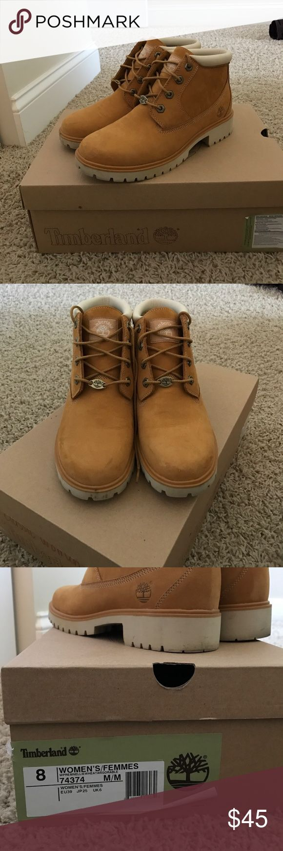 Women's Timberland Boots Size 8 women's Timberland boots. Worn a few times, shows some signs of wear but nothing major! I just don't wear them because the women's fit is thinner and I like the looks of men's Tim's instead Timberland Shoes Ankle Boots & Booties