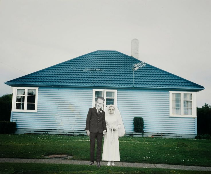 "Ava Seymour - ""White Wedding, Invercargill"" - Photocollage from ""Health, Happiness and Housing"", 1997, New Zealand"