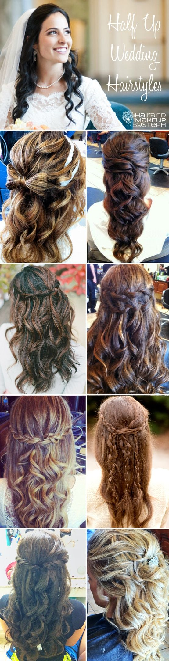 half up, long hair bridal hairstyles