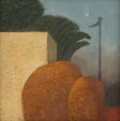 Garden with Flag and Moon (date unknown) by Alfred Stockham, oil on canvas board 25.5 x 25.5 cm