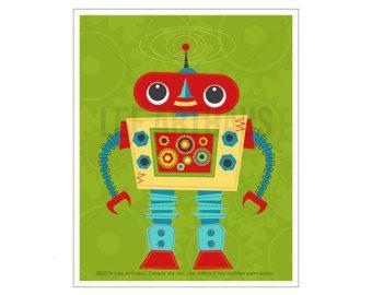 Robot Wall Art Robot 9 Wall Art Whimsical Robot Art