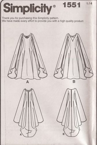 Galadrial Costume Pattern 1551 Simplicity Sz 8 24 LOTR Elf Wizard Queen Dress | eBay. I like the left one.