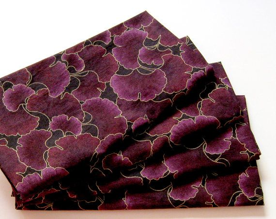 Cloth Napkins  Set of 4  Metallic Gold Plum Purple by ClearSkyHome