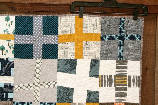 wonky cross quilt, love the colors. by quiltsbyemily