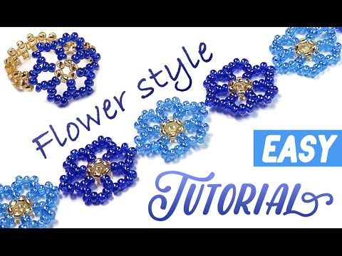 How-to make a beautiful flower ✿ bracelet / choker / ring using a seed beads - YouTube