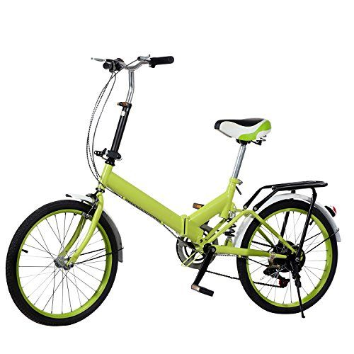 Eshion 20'' Wheel Aluminum Frame 6 Shift Speed Bicycle Folding Storage School Sports (Green) -- To view further for this item, visit the image link.