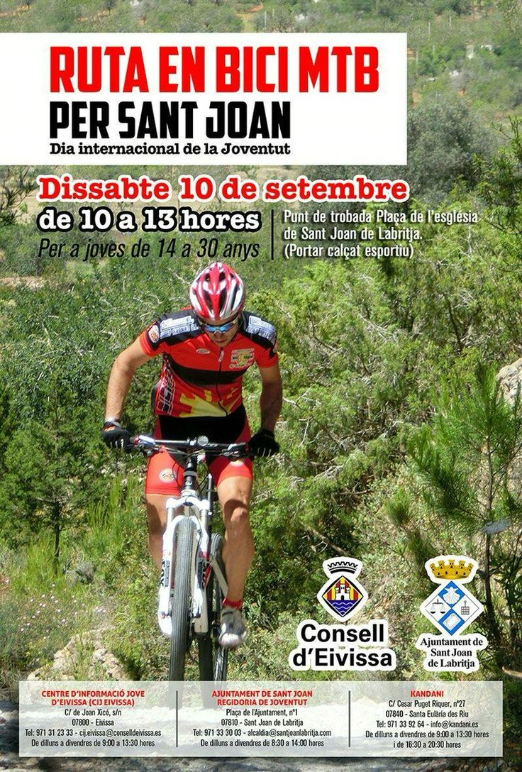 El sábado, ruta en bici MTB por Sant Joan. Salida de la plaza de la iglesia a las 10 de la mañana. On Sunday, mountain bike route. This route departs from the village of Sant Joan at 10 am. Welcome to the area of Ibiza travel devoted to biking tourism, with routes you can follow to discover and enjoy our island. http://www.ibiza.travel/en/cicloturismo.php
