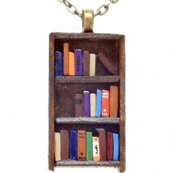 Books on Dark Wood Bookcase Necklace -- Perfect for someone who has shelves and shelves of the real thing!  via:  The Literary Gift Company