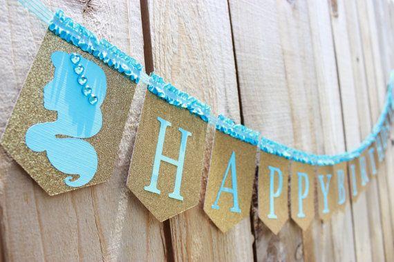 Princess Jasmine inspired Happy Birthday banner, Aqua and Gold - princess silhouette