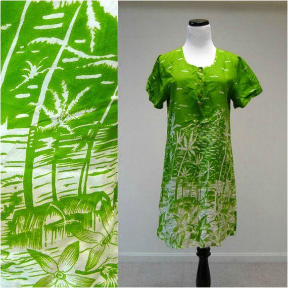 Dee Dee's . tropical print green shirt dress . small . by june22