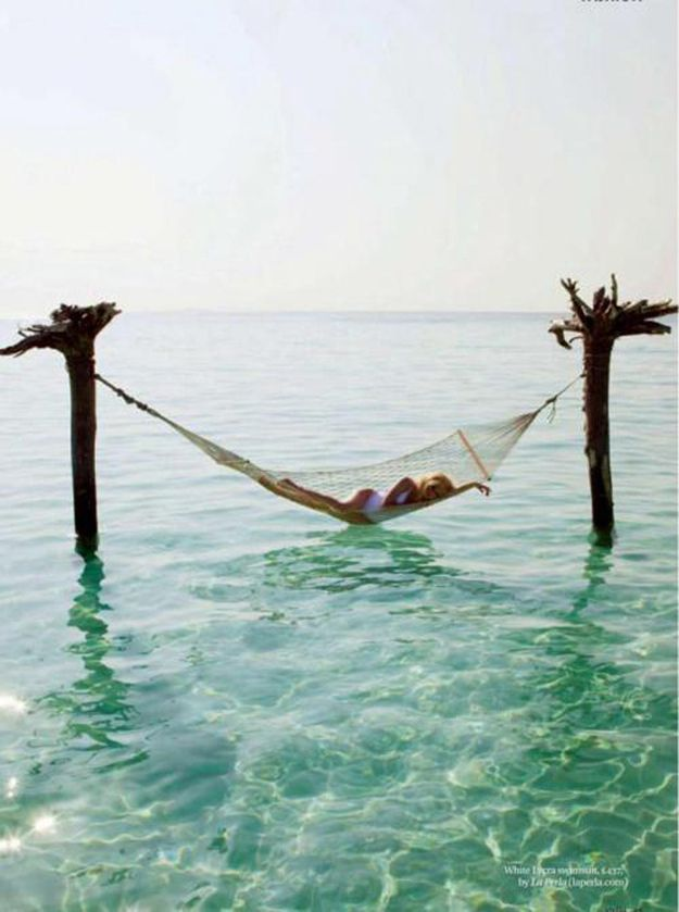 In a secluded hammock off shore.