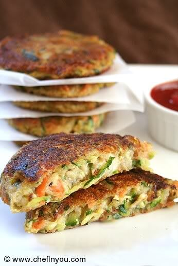 Zucchini, Potato & Carrot Patties ~ just bake instead of fry to avoid the oil & the mess.