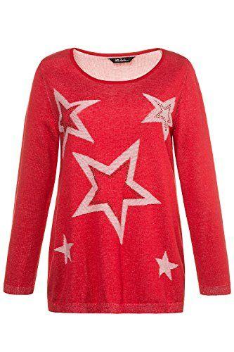 f7fd8bcb3965 Ulla Popken Women s Plus Size Star Cotton Sweater Poppy 20 22 715127 ...