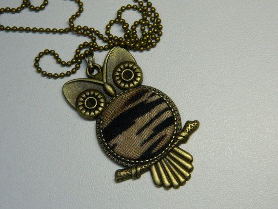 Brown Fabric Button Owl Pendant Gift for her by LittleRubyAtom