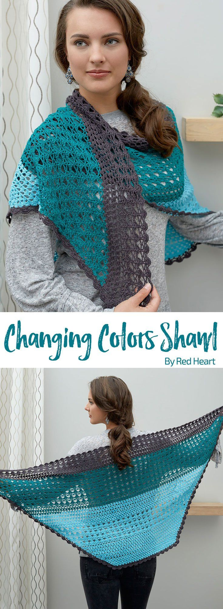 Changing Colors Shawl free crochet pattern in It's a Wrap yarn.