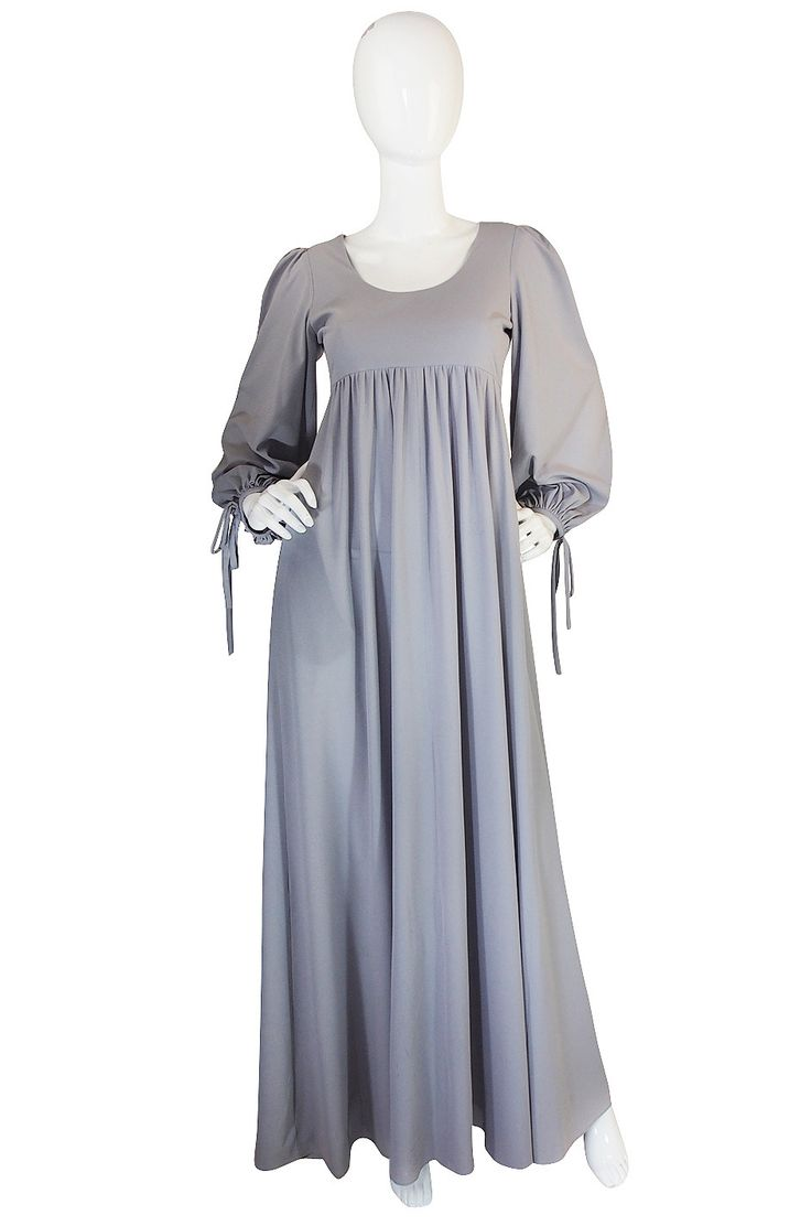 1960s Pretty Grey Blue Gina Fratini Maxi Dress