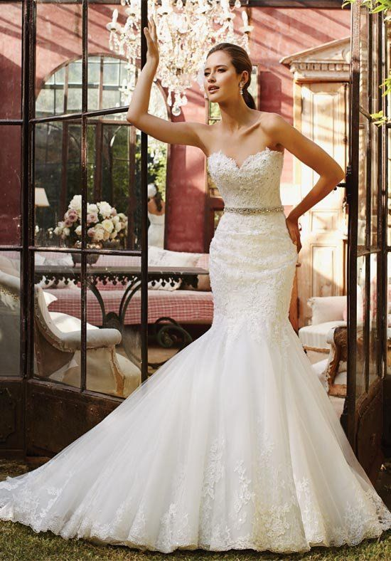 Strapless, lace mermaid wedding dress with dropped waist | Sophia Tolli Y21376 Begonia |  https://moncheribridals.com/