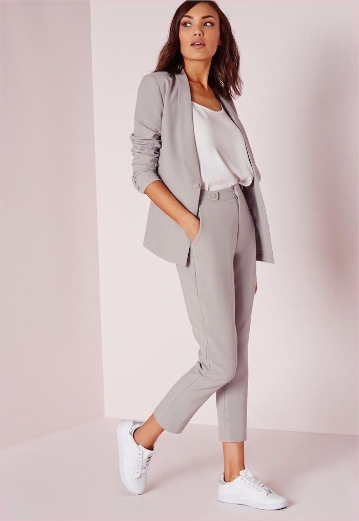 e19f36cb89 grey trousers and blazer, business casual attire, white top and sneakers